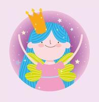 älvprinsessa med krona fantasy design vektor