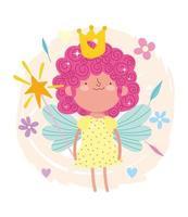 lockiges Haar Fee Prinzessin mit Zauberstab