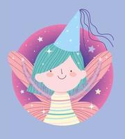 älvprinsessa med hatt i cirkelram vektor