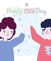 glücklicher Jugendtag zwei Männer, die Plakat feiern