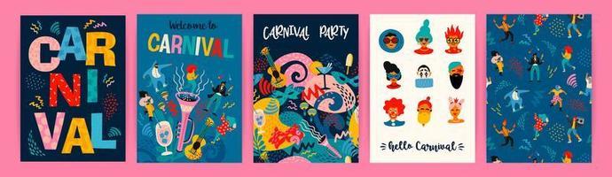 uppsättning karneval affischdesigner vektor