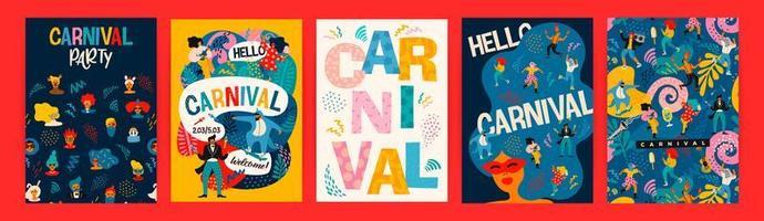 Satz Karnevalsplakatentwürfe vektor