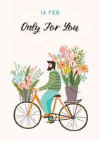 man med blommor på en cykel för alla hjärtans dag vektor