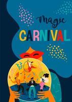 kvinna som håller en magisk boll för karnevalfirande vektor