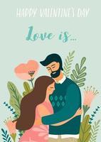 ung man och kvinna för alla hjärtans dagskort vektor