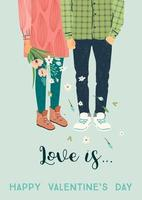 junger Mann und Frau für Valentinstagskarte vektor