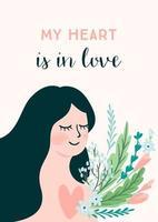 kvinna med blommor för alla hjärtans dagskort vektor