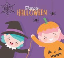 Happy Halloween, kleines Mädchen Hexe und Kürbis