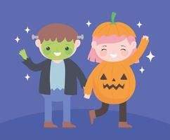Happy Halloween, Zombie Boy und Kürbismädchen