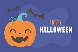 lycklig halloween leende pumpa och flygande fladdermöss kort vektor