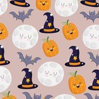 Happy Halloween Kürbis, Fledermaus, Mond, Hexenhut Muster vektor