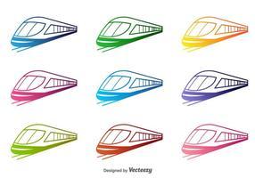 Färgrik Train Vector silhuetter