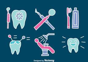 Hand gezeichnet Zahnarzt-Element-Vektor-Set
