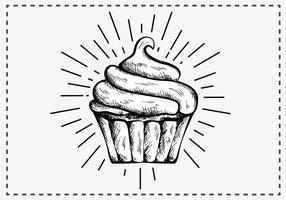 Fria händer som dras Cupcake Bakgrund vektor