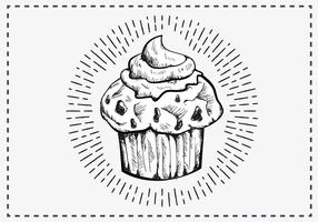 Fria händer som dras Muffin Bakgrund vektor