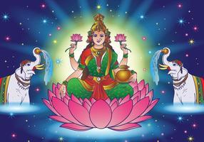 Hindu Lakshmi Goddess of Wealth vektor