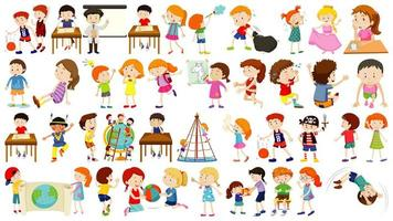 uppsättning barn seriefigur