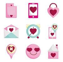 romantisk ikonuppsättning för alla hjärtans dag vektor