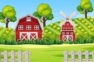 gårdsplats med ladugård och väderkvarn vektor