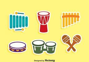Traditionell musik Instrument ikoner vektor