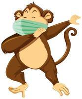 Affenkarikaturfigur, die eine Maske trägt