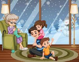 Menschen, die mit der Familie zu Hause bleiben vektor
