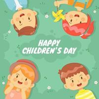 Gruppe von Kindern, die am Kindertag auf Gras liegen vektor