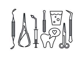 Tandläkare verktyg vektor ikoner