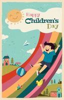 glücklicher Kindertag auf Regenbogenrutsche vektor