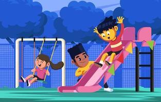 glückliche Zeit mit Freunden am Kindertag vektor