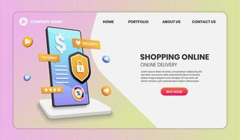 Online-Shopping auf Handy-Web-Vorlage vektor