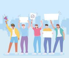 människor som håller skyltar i en protest
