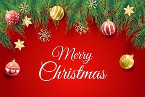 Weihnachtsplakat mit Ornamenten und Zweigen auf Rot vektor