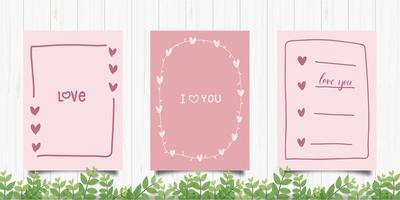 uppsättning söta romantiska kort