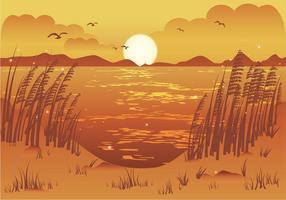 Nachmittag Blick auf den Strand Meer Hafer Illustration vektor