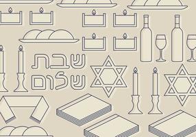 Shabbat Symboler Set vektor