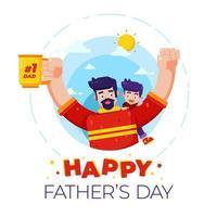 Illustration eines Vaters und eines Sohnes, die den Vatertag feiern.
