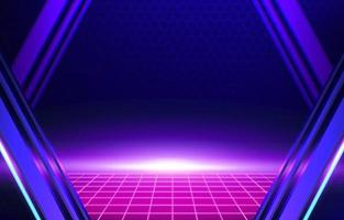 violett cyberpunk utformat ljus på horisont neon bakgrund vektor