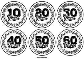 Handritad stil Anniversary Label Collection vektor
