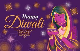 fridfull kvinna som håller diya för diwali-firande