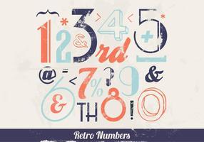 Retro bunte Zahlen Vektor