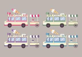 Vector Bunte Ice Cream Trucks