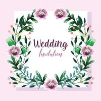 krans med blommor bröllopsinbjudan vektor