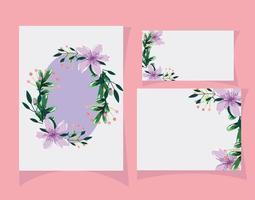 blommor och blad akvarell kortmall vektor
