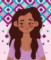 ung spansktalande kvinna tecknad porträtt vektor