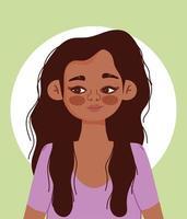 Karikaturporträt der jungen hispanischen Frau