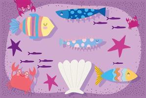 fiskar skal sjöstjärnor krabba scen vektor