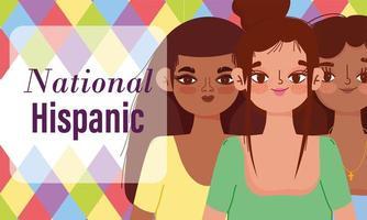 nationell spanskt arvsmånad, grupp för unga kvinnor vektor