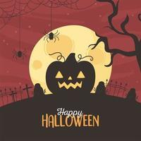 lyckligt halloween gratulationskort med pumpa vektor