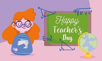 glad lärares dagdesign med svarta tavlan